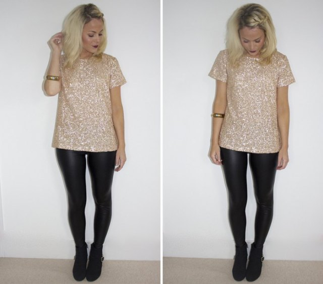 pink and silver sequin t-shirt with black leather gaiters