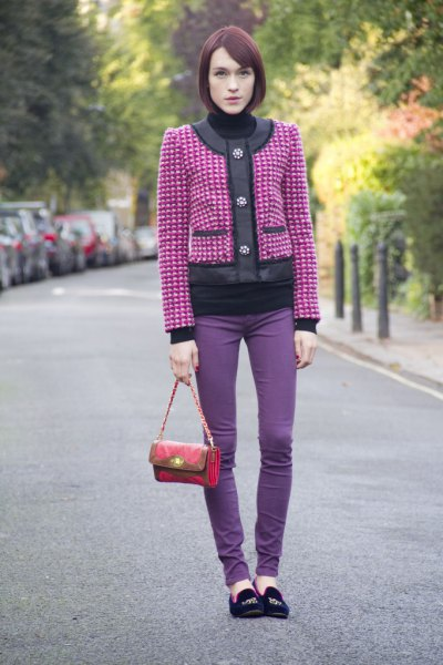 pink and silver studded jacket with purple skinny jeans