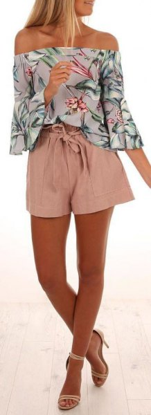 strapless shirt with pink and white floral print and flowing mini shorts