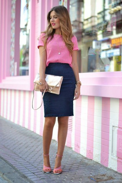 pink and white checked top with a dark blue pencil skirt