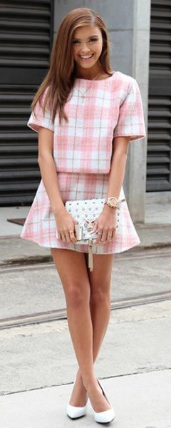 two-piece set of pink and white plaid
