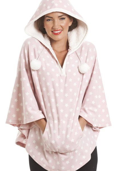 pink and white polka dot fleece poncho with hood