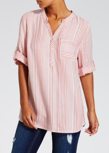 pink and white striped grandpa collar shirt
