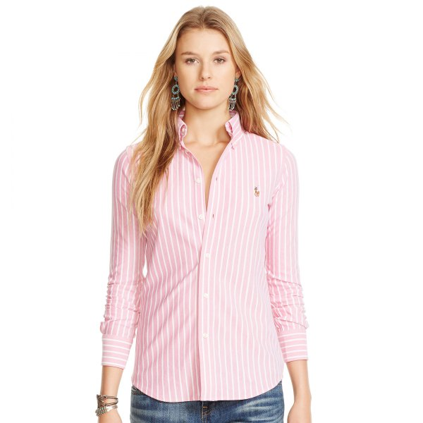pink and white striped oxford shirt