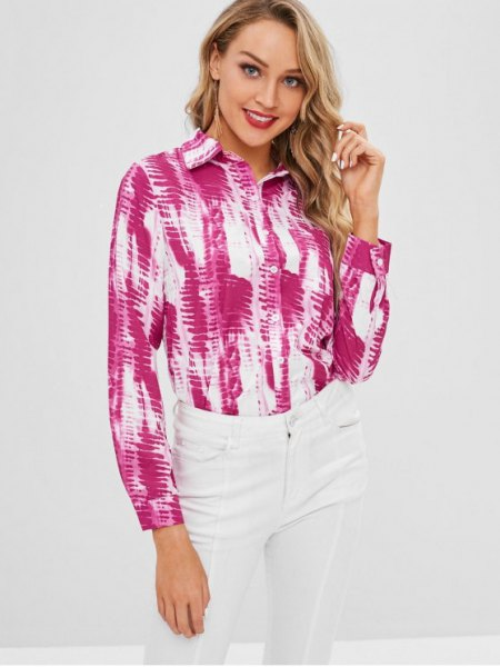 pink and white tie-dye long-sleeved shirt with buttons and skinny jeans