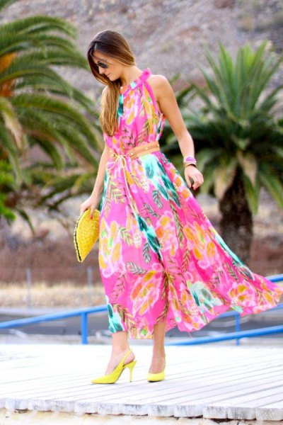 Maxi dress with pink and yellow floral print and lemon heels