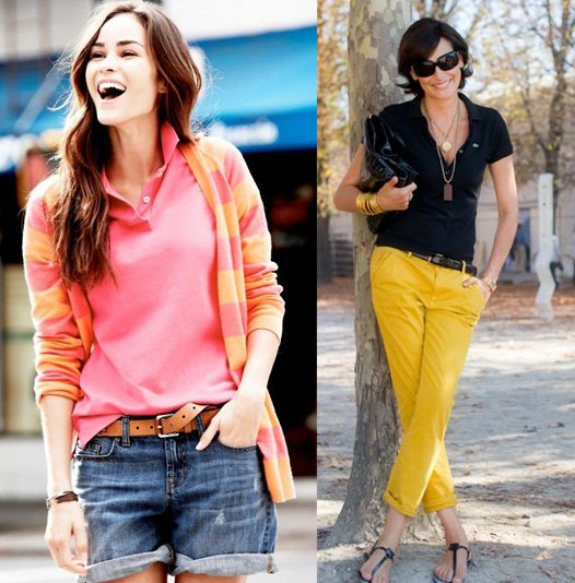 pink and yellow striped cardigan with blue denim shorts with a belt