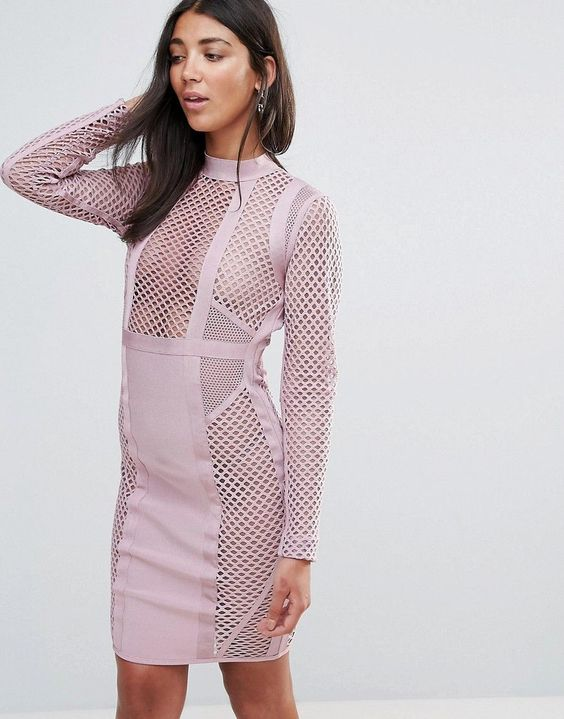 pink bandage dress mesh panels