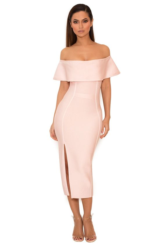 pink bandage dress from the shoulders
