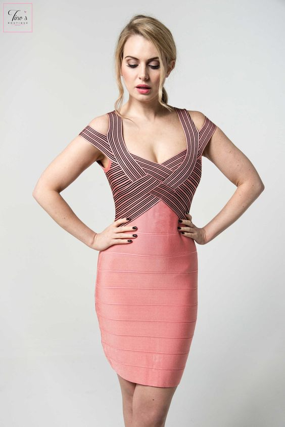 pink bandage dress striped top