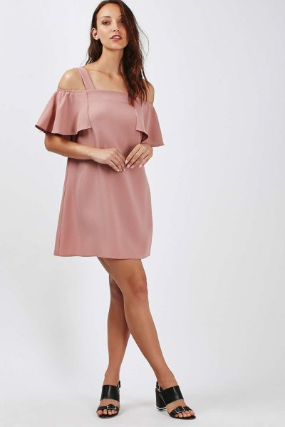 pink bardot mini dress with cold shoulder and open toe heels