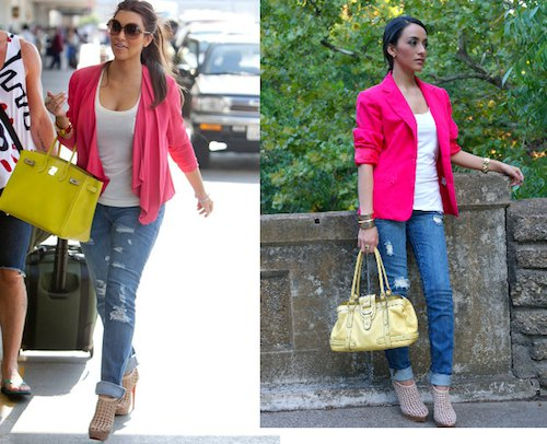pink blazer with white tank top with scoop neckline and ripped jeans