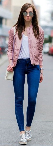 15 Stylish & Feminine Pink Bomber Jacket Outfit Ideas - FMag.c