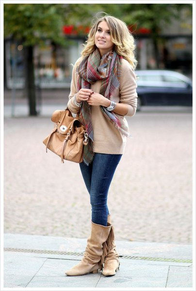 pink chunky knit sweater wide calf boots