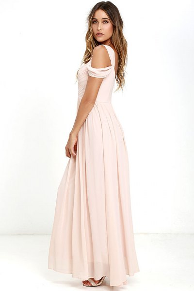 pink floor-length pleated chiffon dress with cold shoulder