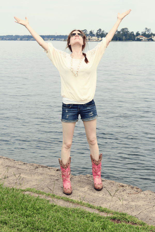 pink cowgirl boots outfit jean shorts