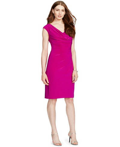 knee-length dress with pink hooded neck sheath