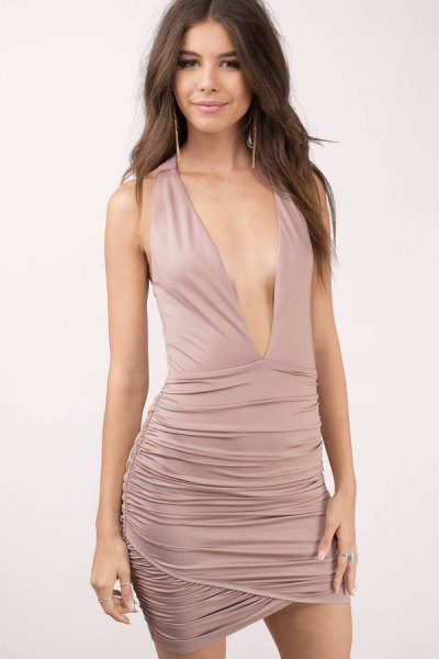 pink bodycon dress with deep V-neckline