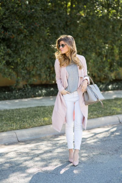 pink feather duster sweater with white skinny jeans