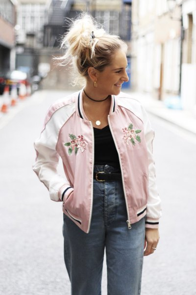 pink embroidered high-waisted bomber jacket