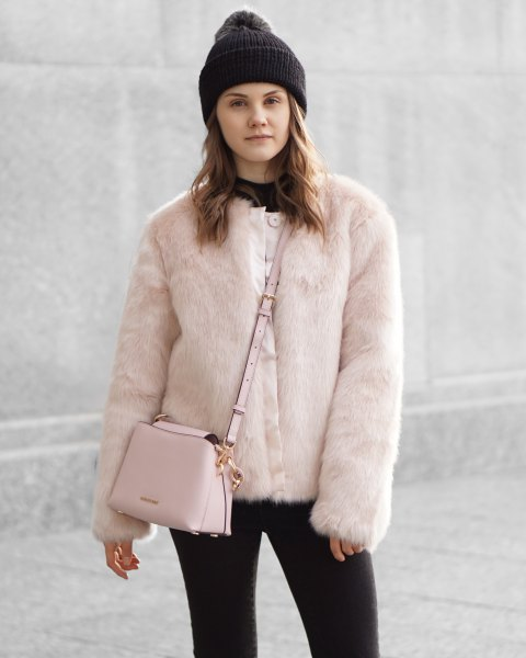 pink faux fur jacket black outfit