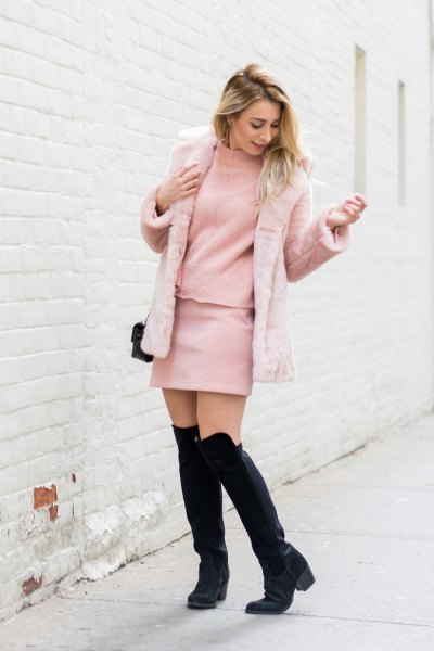 pink faux fur jacket blush mock neck sweater