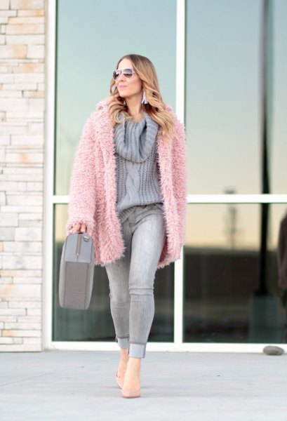 pink faux fur jacket gray knitted sweater with waterfall neckline