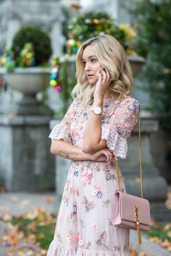 Rose gold dress floral embroidery