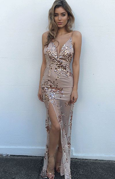 Slit rose gold dress maxi