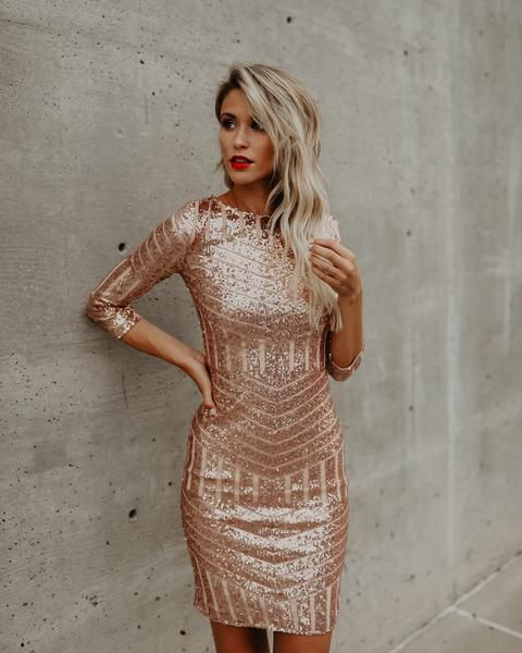 Rose gold dress with sequins
