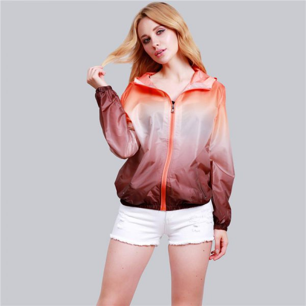 casual sports coat in pink gradient with white denim shorts