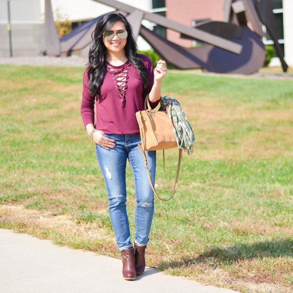 pink lace-up long sleeve t-shirt jeans