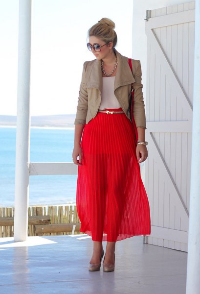 pink leather jacket, red maxi pleated skirt