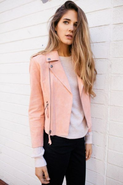 pink leather jacket white ribbed crew neck sweater