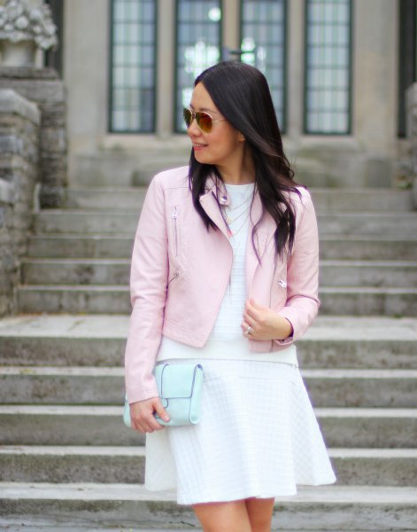 pink leather jacket white top flare mini skirt