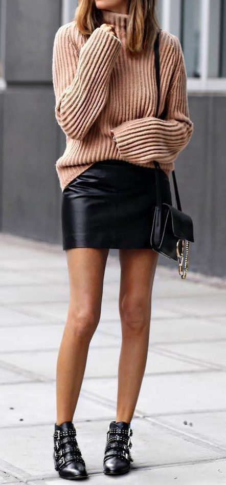 Pink Wool Sweater // Leather Skirt // Ankle Boots   Fashion .