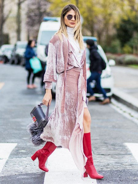 pink long-sleeved maxi wrap dress with light gray turtleneck sweater