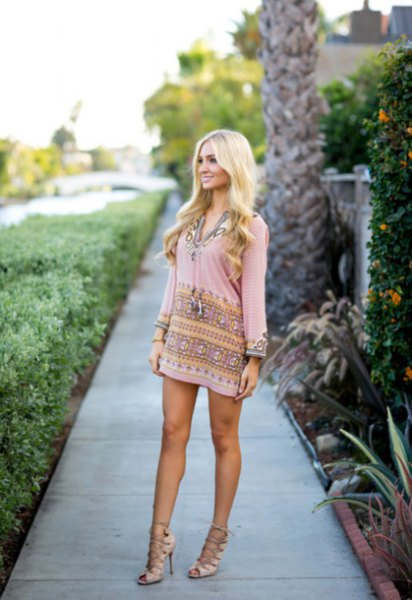 pink long sleeve tribal printed mini shift dress with strappy heels