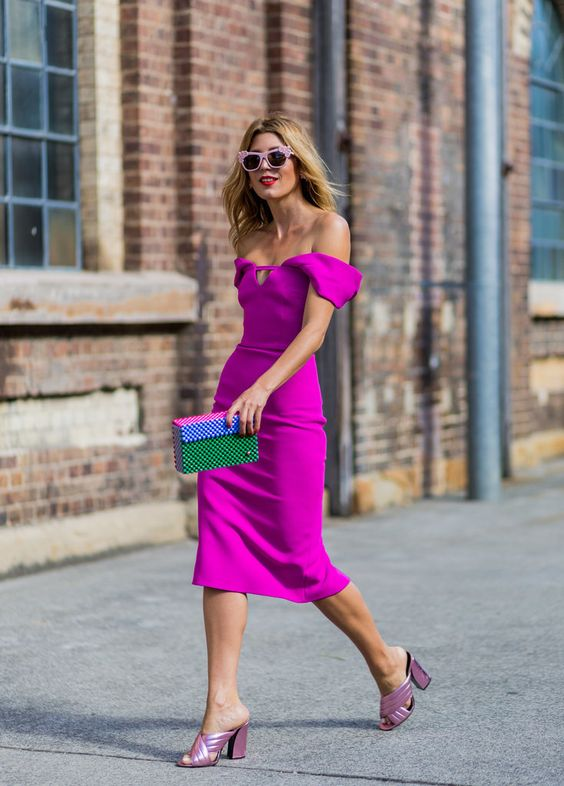 pink midi from the shoulder dress