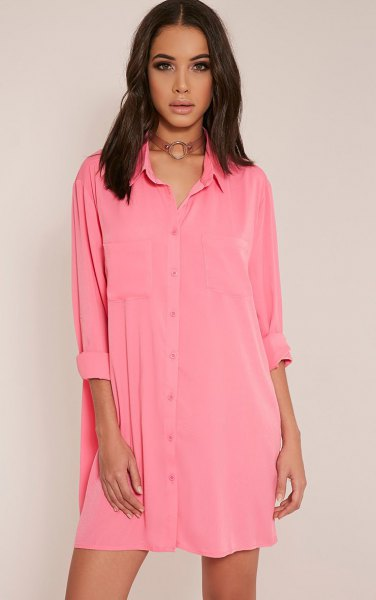 pink mini shirt dress with buttons and brown collar in boho style