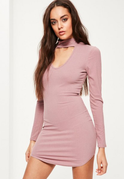 Pink Mock Neck Neckline Front Bodycon Dress