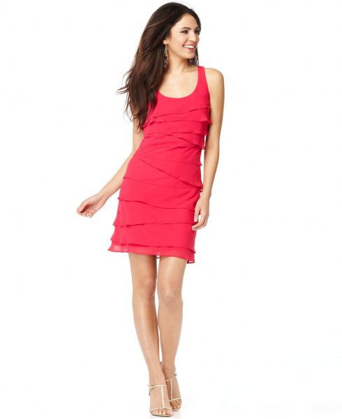 pink multi-layer sleeveless scoop neck dress