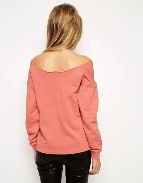 pink strapless sweatshirt black leather pants