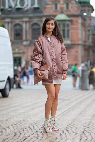 pink oversized bomber jacket white mini dress