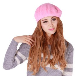 pink painter hat gray white knitted sweater