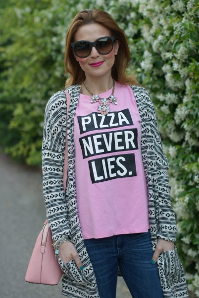 pink printed t-shirt with longline cardigan in tribal style
