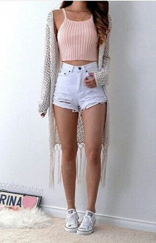pink ribbed knit harvest tank with fringed kimono