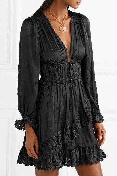 Millie Lace-Trimmed Satin Mini Dress | Dresses, Chic black outfi