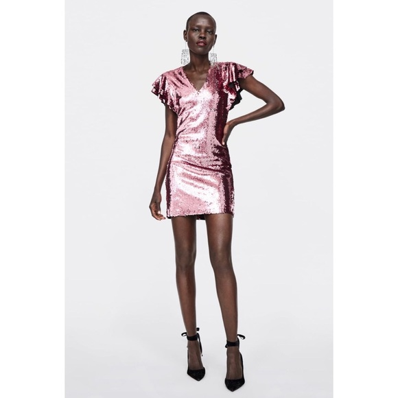 Zara Dresses | Sequin Dress Pink Sequin | Poshma