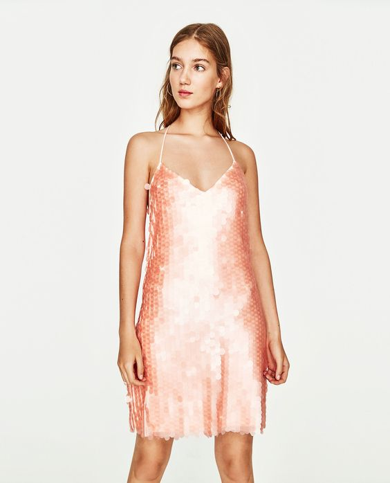 pink sequin dress matt